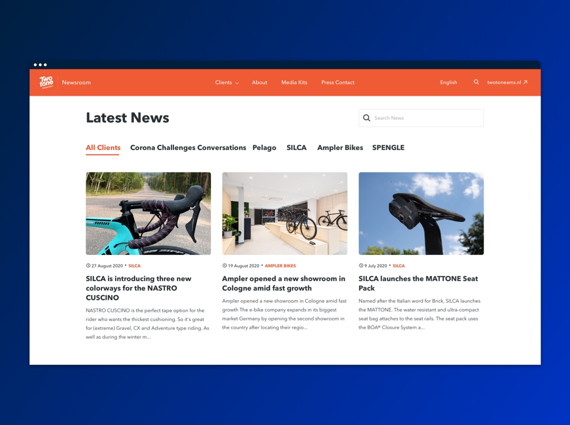 Twotone latest news - dark blue bg