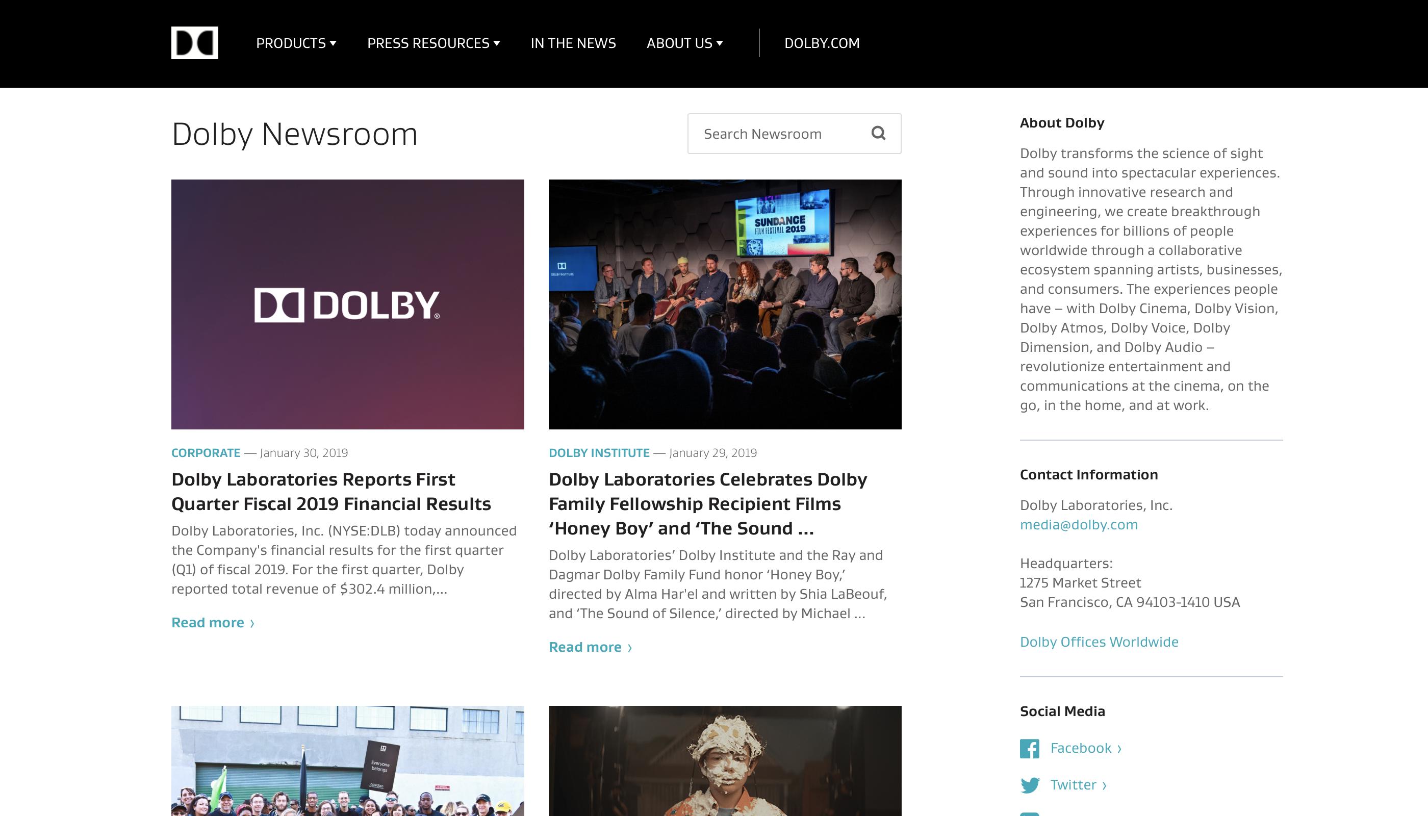 Dolby Newsroom