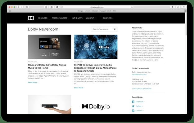 Dolby newsroom June 2020