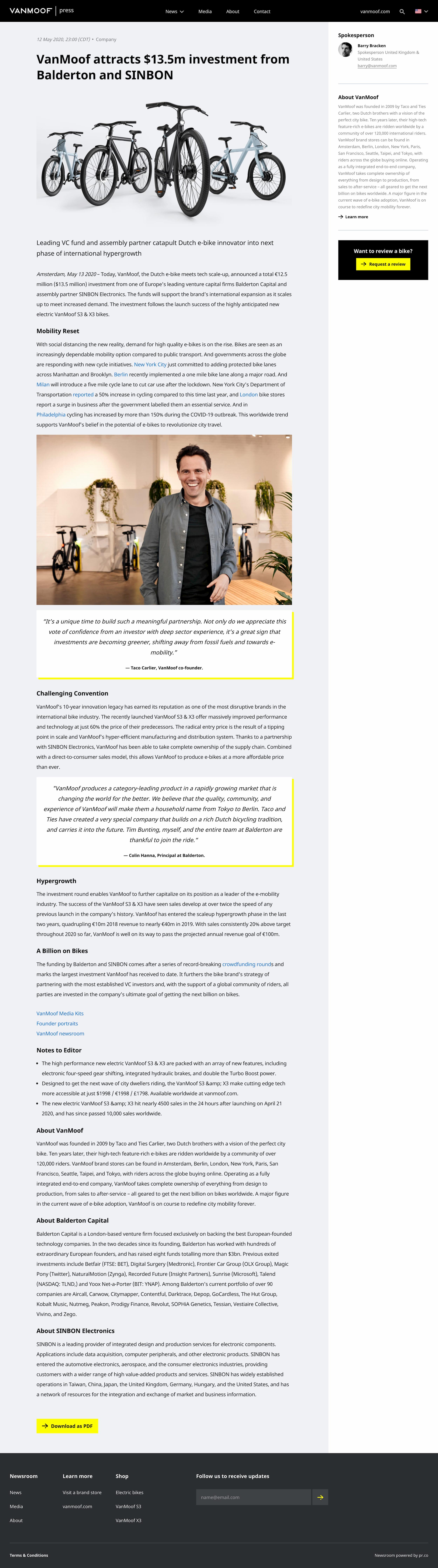 VanMoof_attracts_13_5m_investment_from_Balderton_and_SINBON_VanMoofVanMoof_attracts_13_5m_investment_from_Balderton_and_SINBON_VanMoof_news_