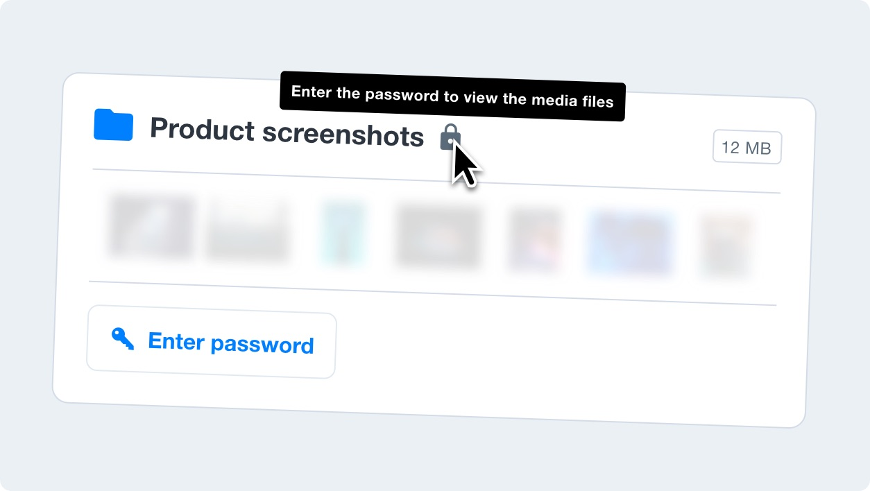 A media kit card that is password protected